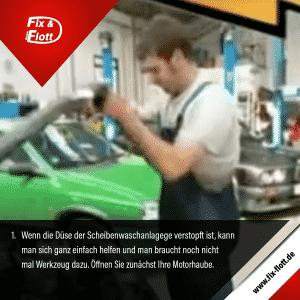 Scheibenwaschduese verstopft - Tipps & Tricks - Kfz-Meister-Werkstatt der Firma Fix & Flott GmbH